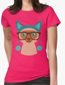 Cute Cat Hipster Animal With Glasses Womens Fitted T-Shirt
