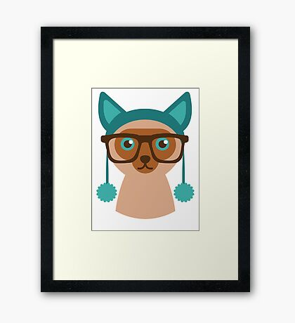 Cute Cat Hipster Animal With Glasses Framed Print