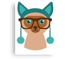 Cute Cat Hipster Animal With Glasses Canvas Print