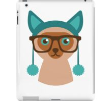Cute Cat Hipster Animal With Glasses iPad Case/Skin