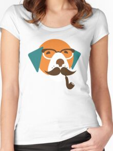 Cute Beagle Dog Hipster Animal With Pipe Women's Fitted Scoop T-Shirt