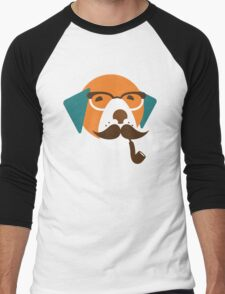 Cute Beagle Dog Hipster Animal With Pipe Men's Baseball ¾ T-Shirt