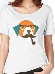 Cute Beagle Dog Hipster Animal With Pipe Women's Relaxed Fit T-Shirt