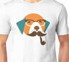 Cute Beagle Dog Hipster Animal With Pipe Unisex T-Shirt