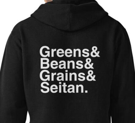What Vegans Eat - White Helvetica List Pullover Hoodie