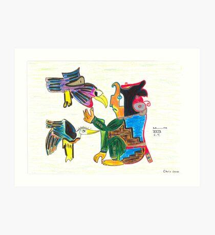 A Creator with Birds Art Print