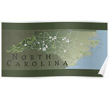 North Carolina Parks map Poster