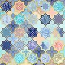 Cream, Navy and Aqua Geometric Tile Pattern by micklyn