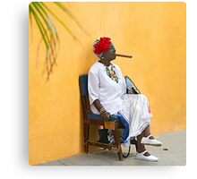 Lady with Cigar Canvas Print