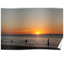 swimming at sunset on the beach of Flic en Flac,Mauritius. Poster