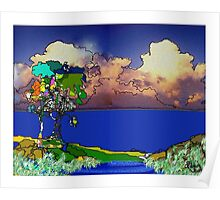 Tryptich Tree with Magpie Poster