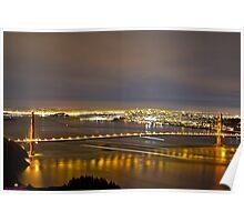 Light Trails Under the Golden Gate Poster