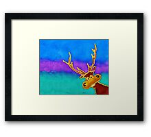 silly stag quilt size Framed Print