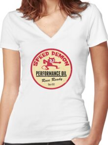 Hot Rod Retro Decal Women's Fitted V-Neck T-Shirt
