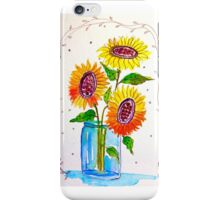 Sunflowers in a Blue Jar iPhone Case/Skin