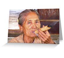 Cheroot Smoking - Bagan, Myanmar Greeting Card