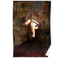 Girl with Red Butterflies Poster