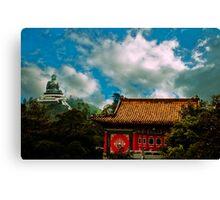 Big Budda and Temple Canvas Print