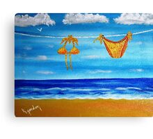 itsy bitsy teeny weenie orange polka dot bikini Canvas Print