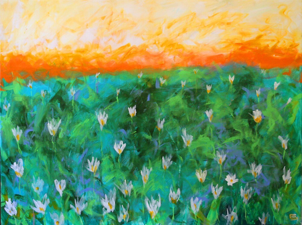 Field. 40 x 30. Acrylic Painting. by csoccio100