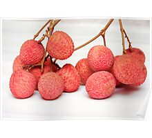 ripe lychee isolated on white Poster