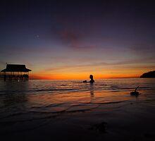 Mars shining over the ocean - Pulau Tiga Island, Sabah, Malaysia by iandavies