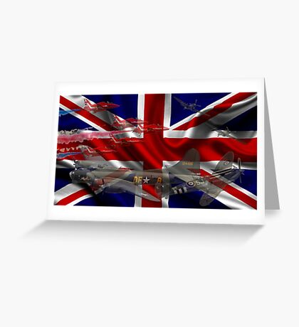 AIRCRAFT AND UNION JACK Greeting Card