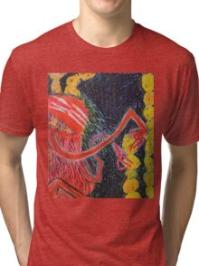 Unsatiated - A Red Lady With A Stack Of Cookies Tri-blend T-Shirt