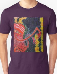 Unsatiated - A Red Lady With A Stack Of Cookies Unisex T-Shirt