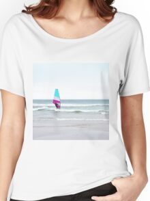 Windsurfer with Aqua and Magenta Women's Relaxed Fit T-Shirt