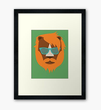 Cute Lion Hipster Animal With Funky Glasses Framed Print