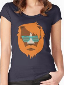 Cute Lion Hipster Animal With Funky Glasses Women's Fitted Scoop T-Shirt