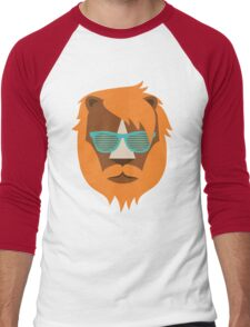 Cute Lion Hipster Animal With Funky Glasses Men's Baseball ¾ T-Shirt