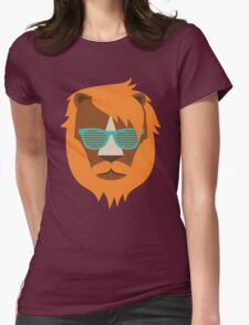 Cute Lion Hipster Animal With Funky Glasses Womens Fitted T-Shirt