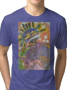 There's Death In Me Still - Abstract Portrait Tri-blend T-Shirt