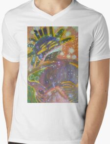 There's Death In Me Still - Abstract Portrait Mens V-Neck T-Shirt