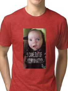 Funny Daughter looking confused at the wonders of life Tri-blend T-Shirt