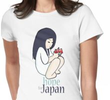 Japan girl with origami Womens Fitted T-Shirt