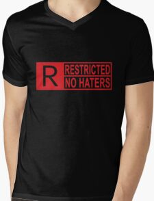 restricted - no haters red Mens V-Neck T-Shirt