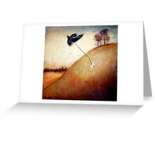 boy with black bird kite Greeting Card