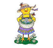Easter Chick with Eggs Photographic Print