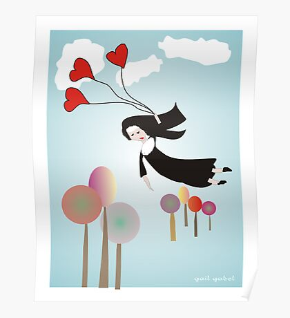 Nun With Balloons--Whimsical Drawing Poster