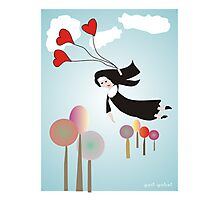 Nun With Balloons--Whimsical Drawing Photographic Print