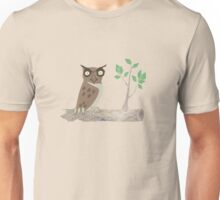 Owl on a Sawn Tree Limb Unisex T-Shirt