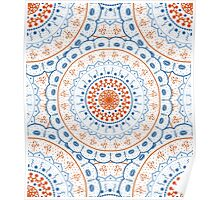 White Red Blue Mandalas Poster