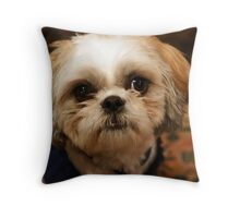 Trouble in a Dog-Shaped Package Throw Pillow