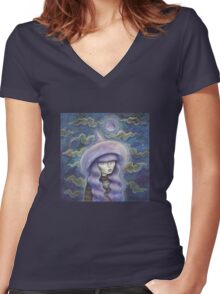 Witch Moon Women's Fitted V-Neck T-Shirt