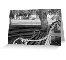 Empty park bench Greeting Card