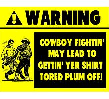 Cowboy Fighting Warning - Yellow Photographic Print