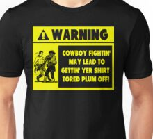 Cowboy Fighting Warning - Yellow Unisex T-Shirt